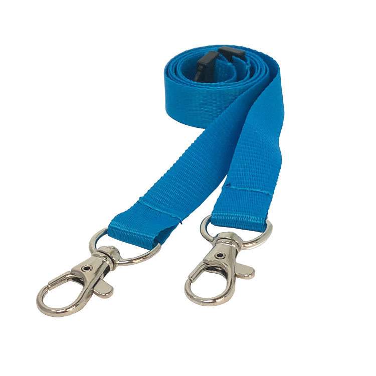 Cyan Double Clip Lanyard - Conference Lanyard