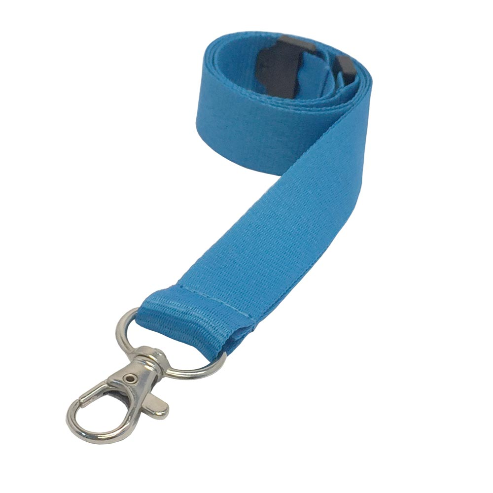 Cyan Lanyard - Flat Ribbed Lanyard - 2cm Plain Coloured Lanyard