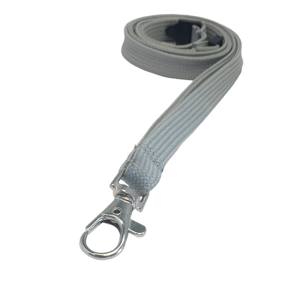 Grey Lanyard - Tubular Lanyard - 1cm Plain Coloured Lanyard