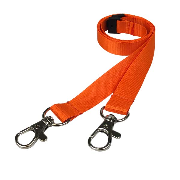 Orange Double Clip Lanyard