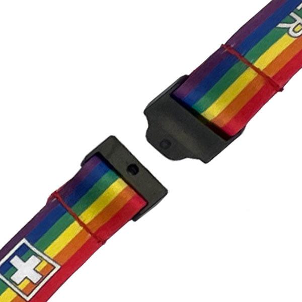 Rainbow Mental Health First Aider Lanyard - Detail Showing Safety Break
