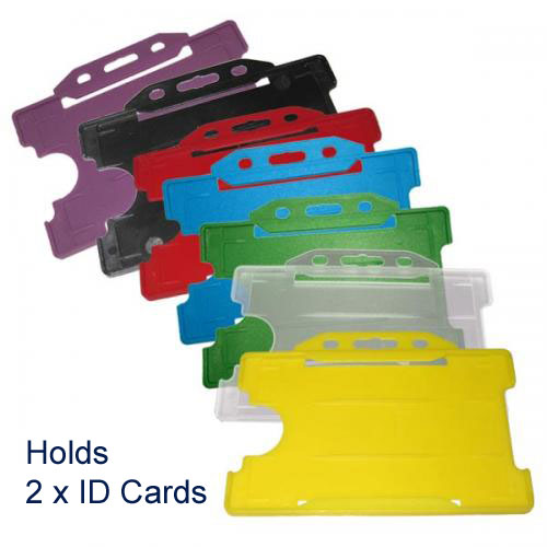 Standard Plastic Double ID Card Holder - Landscape