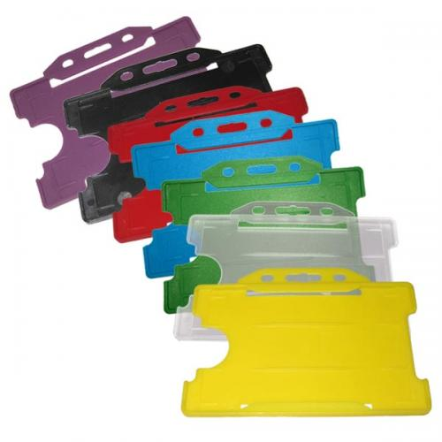 rigid plastic id card holders single id landscape - Plastic Id Card Holder