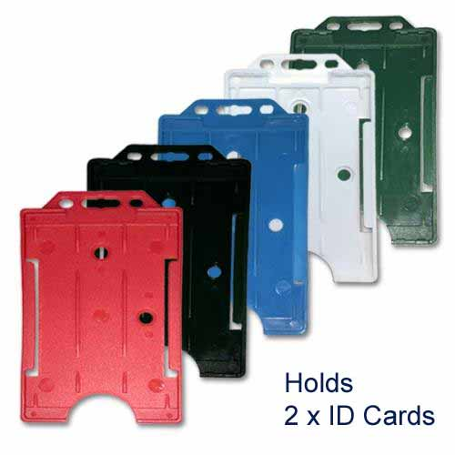 Standard Plastic Double ID Card Holder - Portrait